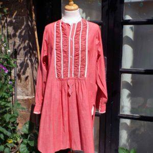 Chemise femme vintage longue col montant